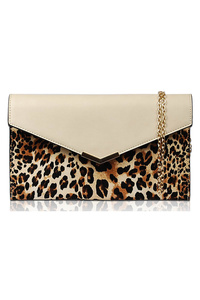 Solid And Leopard Clutch With Chain Strap
