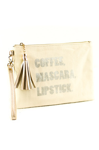 Solid Canvas With Tassels Worded Clutch