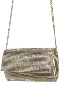All Over Rhinestone Accented Flap Over Evening Clutch