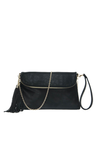 Tassel Accented Flap Over Zipper Accented Clutch With Wrist Strap