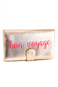 Solid Metallic Worded Flap Over Wallet Style Clutch