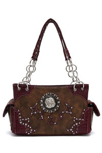 Western Cowgirl Embroidery Studded Center Logo Deco Two Side Pocket Satchel Bag