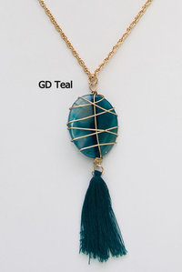 Big Nature Stone Long Tassel Statement Necklace