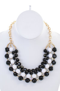 Crystal and Chain Collar Necklace Set