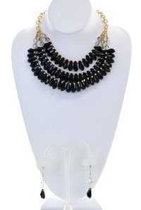 Edge Beads Statement Necklace Set