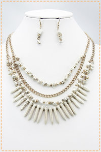 Multi Layered Multi Statement Necklace Set