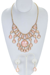 Tear Drop Opal Stones Layered Statement Necklace and Earring Set