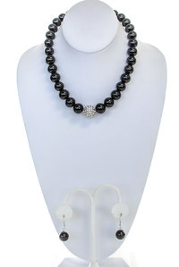 Pearl with Crystal Ball Necklace and Earring Set