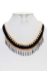Thread Braided with Long Beads Statement Necklace Set