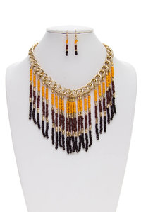 Seedbead Fringe Metal Chain Statement Necklace Set