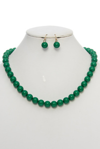 Big Bead Ball Short Necklace and Earring Set
