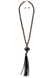 Tassels Accented Beads Necklace Set