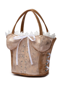 Corset Accented Double Handle Satchel Bag