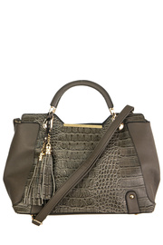 Crocodile And Tassel Accented Top Handle Tote Bag With Strap