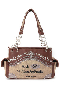 RESTOCK Western CowGirl Bible Verse Design Two Side Pocket Satchel Bag