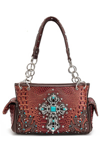 Western Cowgirl Crocodile And Cross Two Side Pocket Satchel Bag