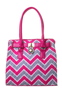 Premium Canvas Quilted Chevron Print with Lock Design Tote Bag