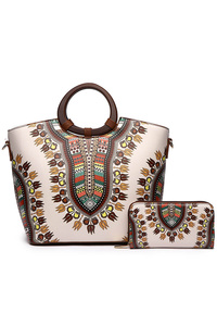 Aztec Print Two In One Wooden Handle Bag With Strap