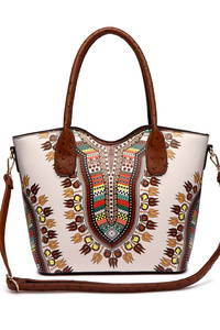 Aztec Print Top Handle Tote Bag With Strap