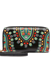 Aztec Print Zip Around Wallet