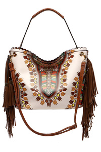 Aztec Print Fringe Top Handle Tote Bag With Strap