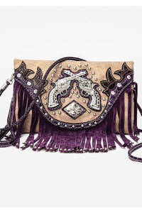 Western Cowgirl Fringe And Gun Accented Clutch Style Wallet