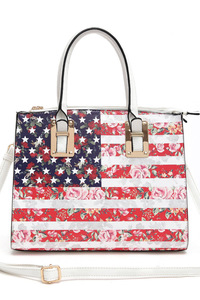 US Flag And Floral Combined Print Design Tote Top Handle Bag With Strap