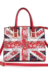 UK Flag And Floral Combined Print Design Tote Top Handle Bag With Strap