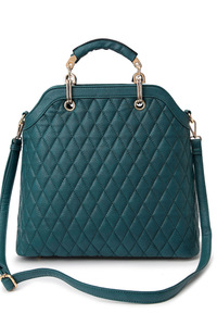 Solid Quilted Metal Handle Tote Bag With Strap
