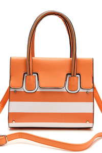 Two Tone Stripe Accented Top Handle Bag With Strap