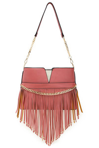 Long V Shape Fringe And Chain Accented Small Shoulder Bag With Strap