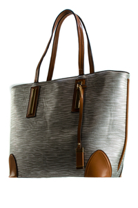 Solid And Trim With Textured Fabric Accented Tote Bag With Slim Handle