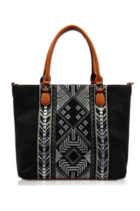 Solid Aztec Double Handle Tote Bag