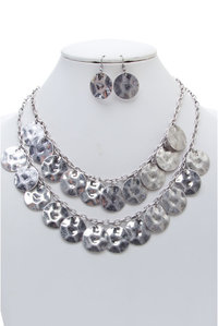 Two Layered Dangling Patterned Round Necklace and Earring Set
