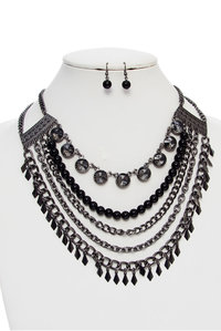 5 Linked Mix Metal Fashion Necklace Set