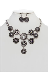 Medallion Statement Necklace and Earring Set