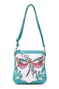Western Cowgirl Butterfly And Stones Accented Messenger Bag