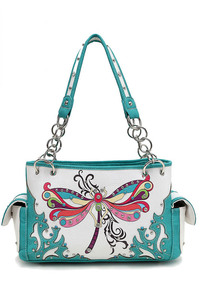 Restocked Western Butterfly And Stones Accented Two Side Pocket Satchel Bag
