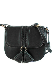 Front Tassels And Stitched Flap Over Messenger Bag