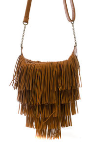 Three Layers Of Fringe All Over Front And Back Messenger Bag