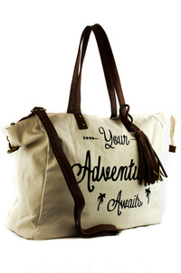 Adventure Worded Overnight Duffle Bag With Tassels