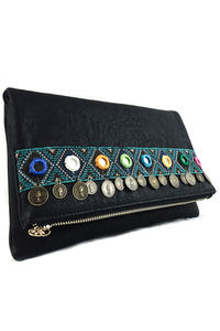 Restocked Bohemian And Coin Flap Over Clutch With Chain Strap
