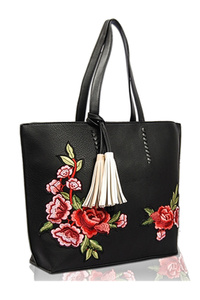 Solid Flower Embroidery Tote Bag With Tassels
