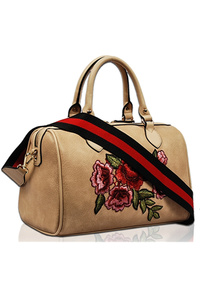 Solid Flower Embroidery Satchel Bag With Stripe Pattern Strap
