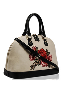 Solid Flower Embroidery Satchel Bag With Strap