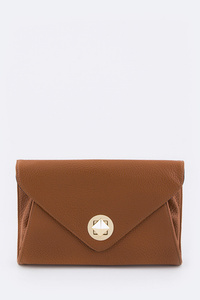 Solid Square Turnlock Contemporary City Envelope Clutch