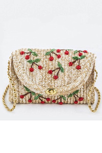 Straw Cherry Embo Flap Over Clutch With Chain Strap