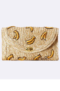 Straw Banana Embo Flap Over Clutch With Chain Strap