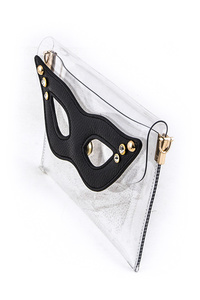 Studded Eye Mask Clear Envelope Clutch