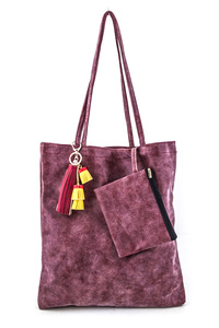 Solid Mix Tassels Washed Leather Tote